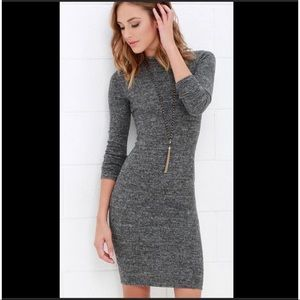 Lulus dress long sleeve gray knit bodycon medium